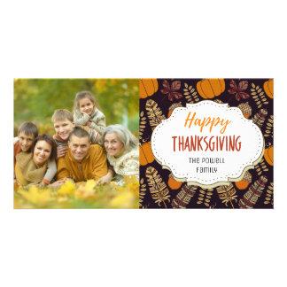 Vintage Autumn Pumpkins Thanksgiving Photo Card