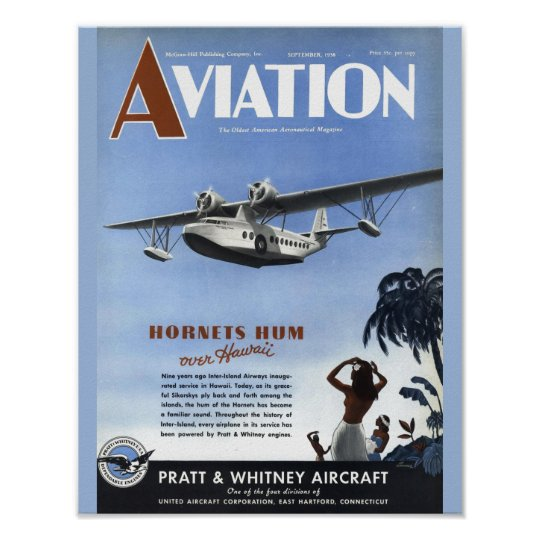 Vintage Aviation Magazine Aeroplane Cover Art Poster