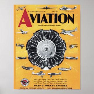 Vintage Aviation Magazine Airplane Cover Art Print