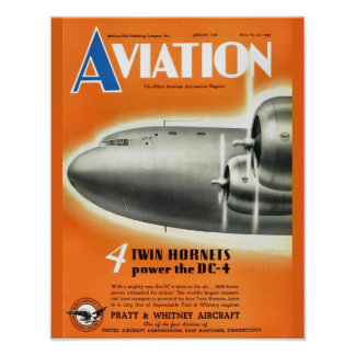 Vintage Aviation Magazine Airplane Cover Art Print