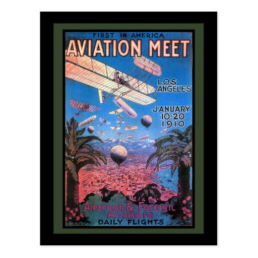 Vintage Aviation Meeting in Los Angeles Poster Post Cards