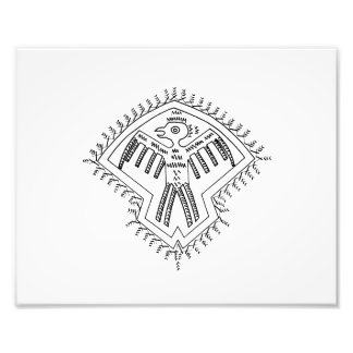 Vintage aztec style bird jagged drawing.png photographic print