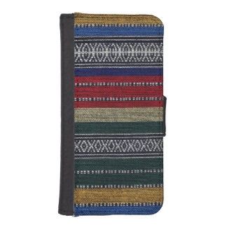 Vintage Aztec Tribal Andes Pattern Fabric Look iPhone SE/5/5s Wallet Case