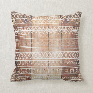 Vintage Aztec Tribal Wood Cushion