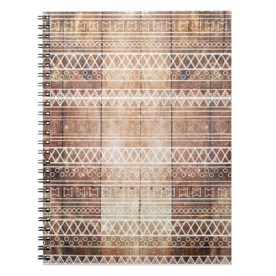 Vintage Aztec Tribal Wood Notebook