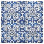 Vintage Azulejo Tile Floral Pattern Fabric