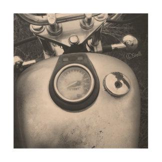 Vintage B&W Art Photo of Motorcycle Wood Print