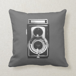 Vintage b w Camera Throw Pillows