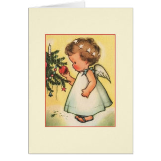 Vintage Baby Angel Christmas Greeting Card
