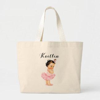 Vintage Baby Ballerina Brunette Pink Tutu Large Tote Bag