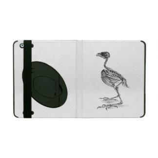 Vintage baby bird skeleton etching iPad cover