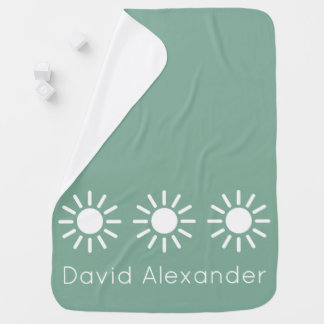 Vintage Baby Blue and White Sunbursts Personalized Baby Blanket