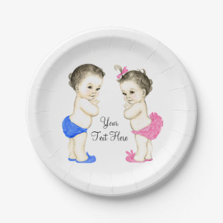 Vintage Baby Boy and Girl Twin Baby Shower 7 Inch Paper Plate
