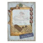 Vintage Baby Boy Arrival Announcement Photo Frame