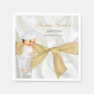 Vintage Baby Boy Baptism Christening Gold Bow Paper Serviettes