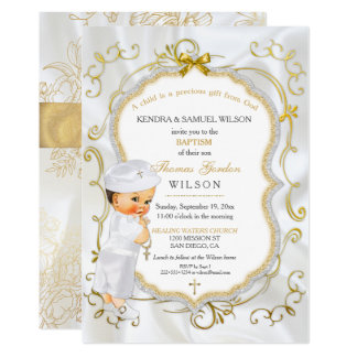 Vintage Baby Boy Baptism Gold Cross Glitter Card
