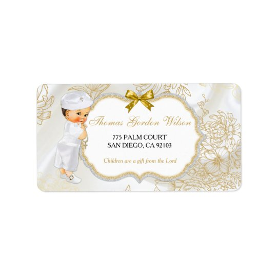 Vintage Baby Boy Baptism Gold White Address Label