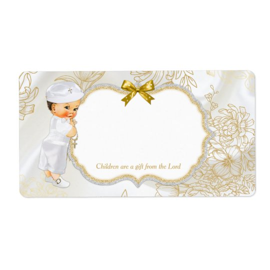 Vintage Baby Boy Baptism Gold White Shipping Label