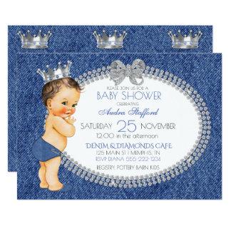 Vintage Baby Boy Denim & Diamonds 13 Cm X 18 Cm Invitation Card