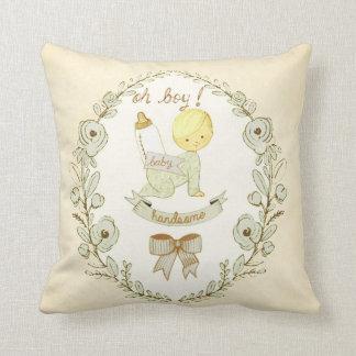 Vintage Baby Boy Handsome Nursery Decorative Throw Pillow