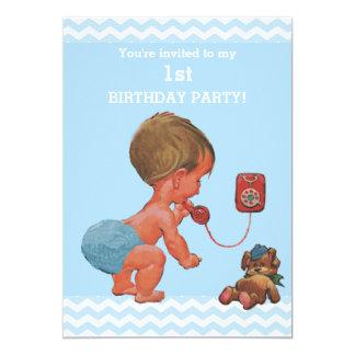 Vintage Baby Boy on Phone Chevrons 1st Birthday 13 Cm X 18 Cm Invitation Card