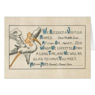 Vintage Baby Boy & Stork Birth Announcement - Blue Greeting Cards