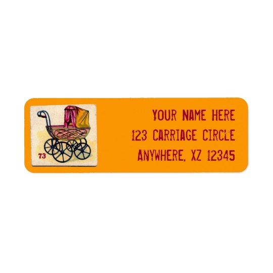 Vintage Baby Buggy Game Card Return Address Label