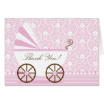 Vintage  Baby Carriage Thank You Note Card