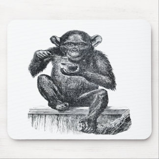 Vintage Baby Chimpanzee Drawing Mouse Pads