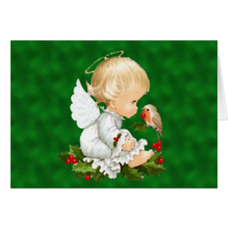 Vintage Baby Christmas Angel Card