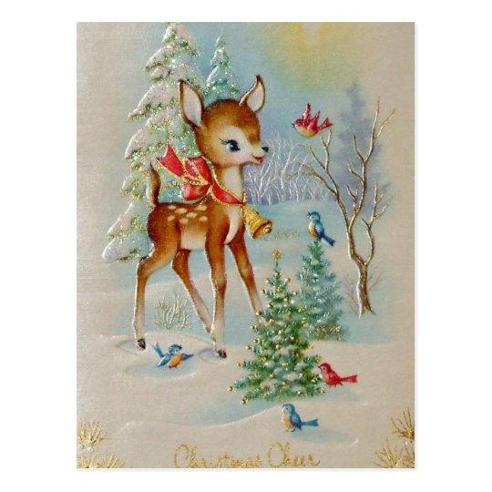 Vintage Baby Christmas Deer Postcard