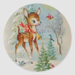 Vintage Baby Christmas Deer Round Stickers