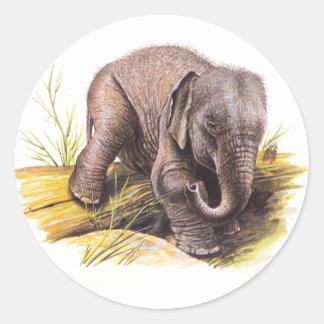 Vintage Baby Elephant Round Sticker