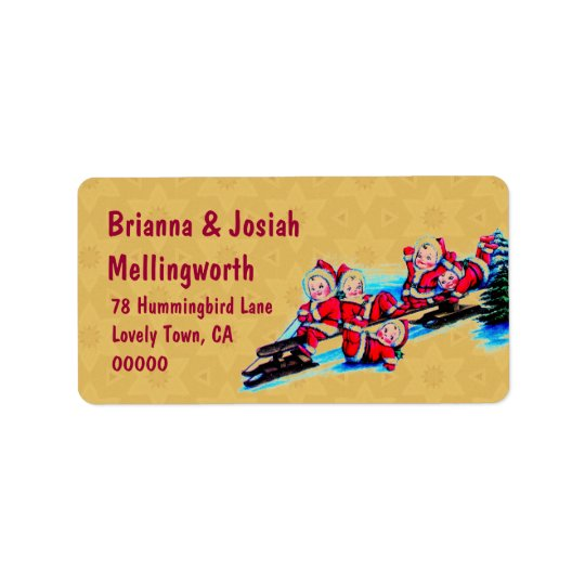 Vintage Baby Elves Sled and Christmas Tree Vers 04 Address Label