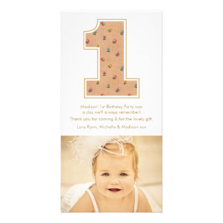Vintage Baby Girl 1st Birthday Thank You PhotoCard Card