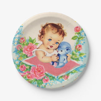 Vintage Baby Girl, baby shower Cake Paper Plates 7 Inch Paper Plate