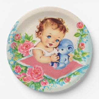 Vintage Baby Girl, baby shower Paper Plates 9 Inch Paper Plate