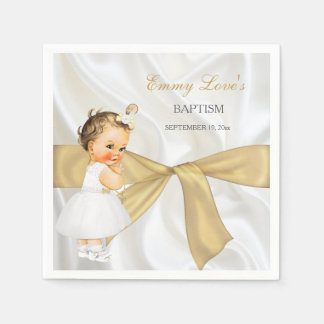 Vintage Baby Girl Baptism Christening Gold Bow Disposable Napkins