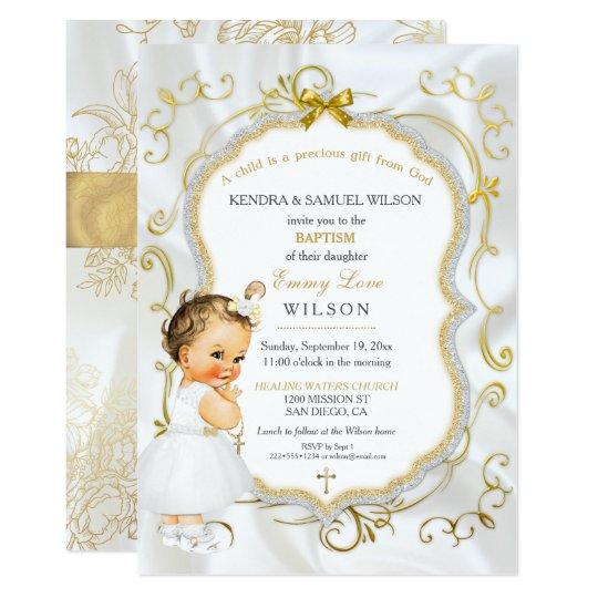 Vintage baby girl baptism gold cross glitter invitation zazzle vintage baby girl baptism gold cross glitter invitation stopboris Images