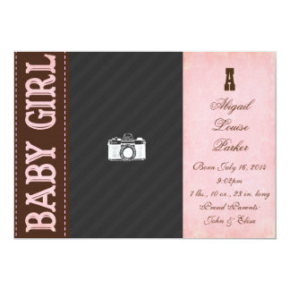 Vintage Baby Girl Birth Announcement