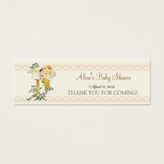 Vintage Baby Girl Mail Box Baby Shower Favor Tag Mini Business Card