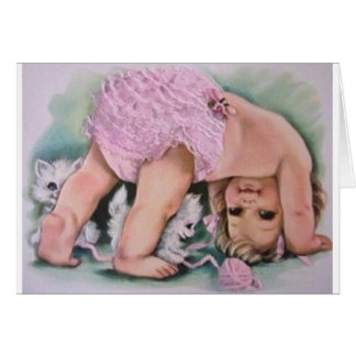 Vintage Baby Girl Playing With Kittens Note Card