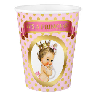 Vintage Baby Girl Royal Princess Crown Pink Gold Paper Cup