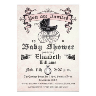 Vintage Baby Girl Shower Invitation