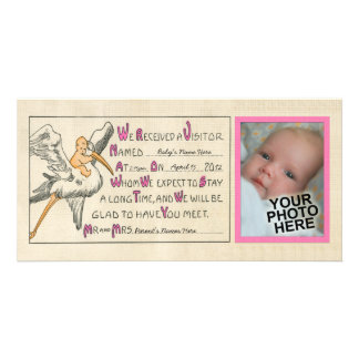 Vintage Baby Girl & Stork Birth Announcement Pink Photo Greeting Card