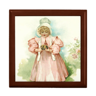 Vintage Baby Girl with Chicks. Easter Gift Box