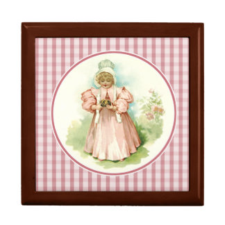 Vintage Baby Girl with Duckling. Easter Gift Box