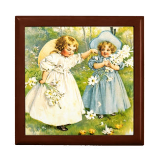 Vintage Baby Girls with Chicks. Easter Gift Box