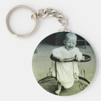 Vintage Baby in a walker Keychains