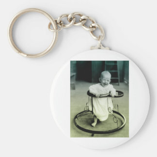 Vintage Baby in a walker Keychain